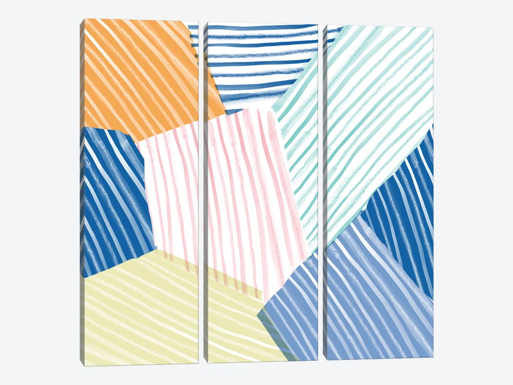 Sea Stripes by Sara Franklin 3-piece Canvas Artwork