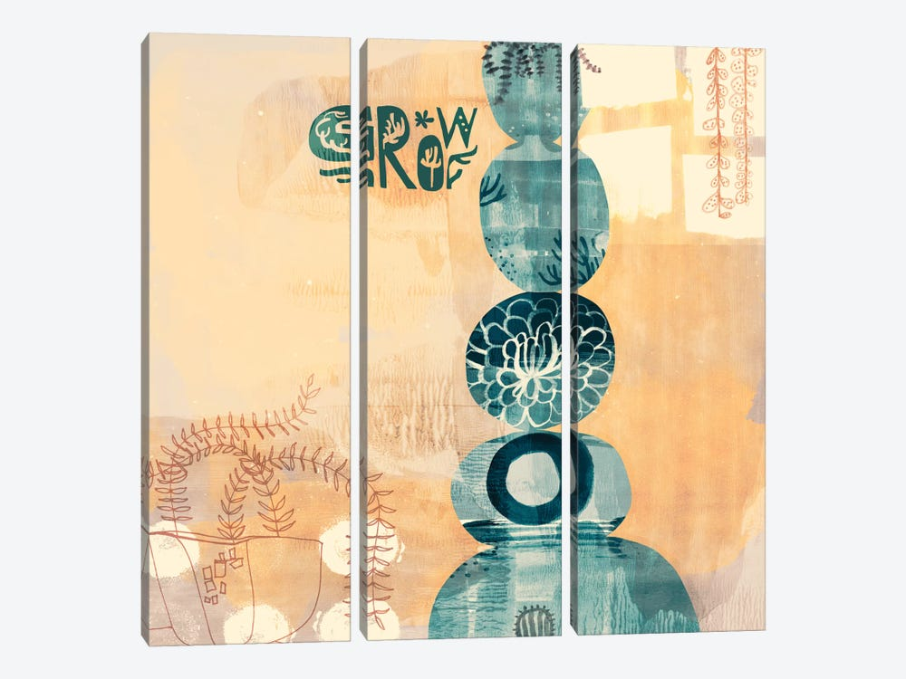 Succulent Stacks by Sara Franklin 3-piece Canvas Print