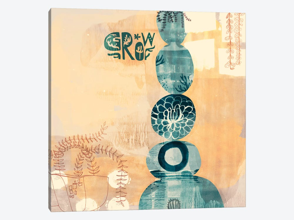 Succulent Stacks by Sara Franklin 1-piece Canvas Art Print