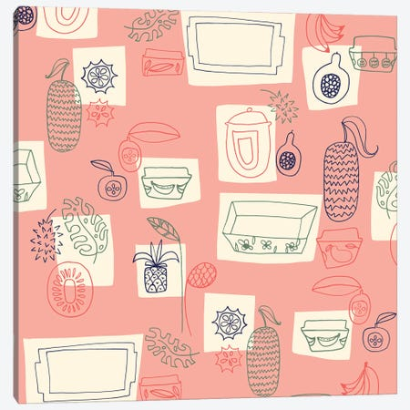 Tropical Kitchen Canvas Print #SFR159} by Sara Franklin Canvas Artwork