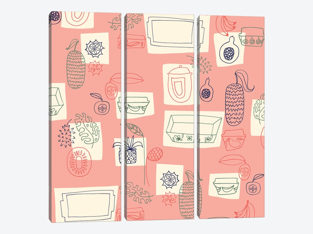 Tropical Kitchen by Sara Franklin 3-piece Canvas Artwork
