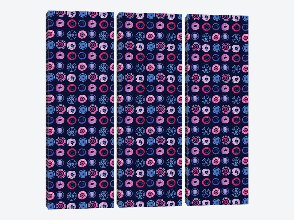 Blue Dots by Sara Franklin 3-piece Canvas Wall Art