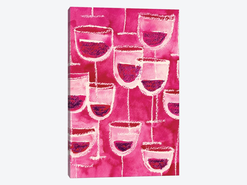 Wine Glasses by Sara Franklin 1-piece Canvas Wall Art