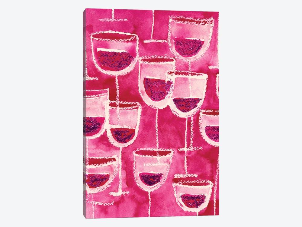 Wine Glasses by Sara Franklin 1-piece Canvas Wall Art