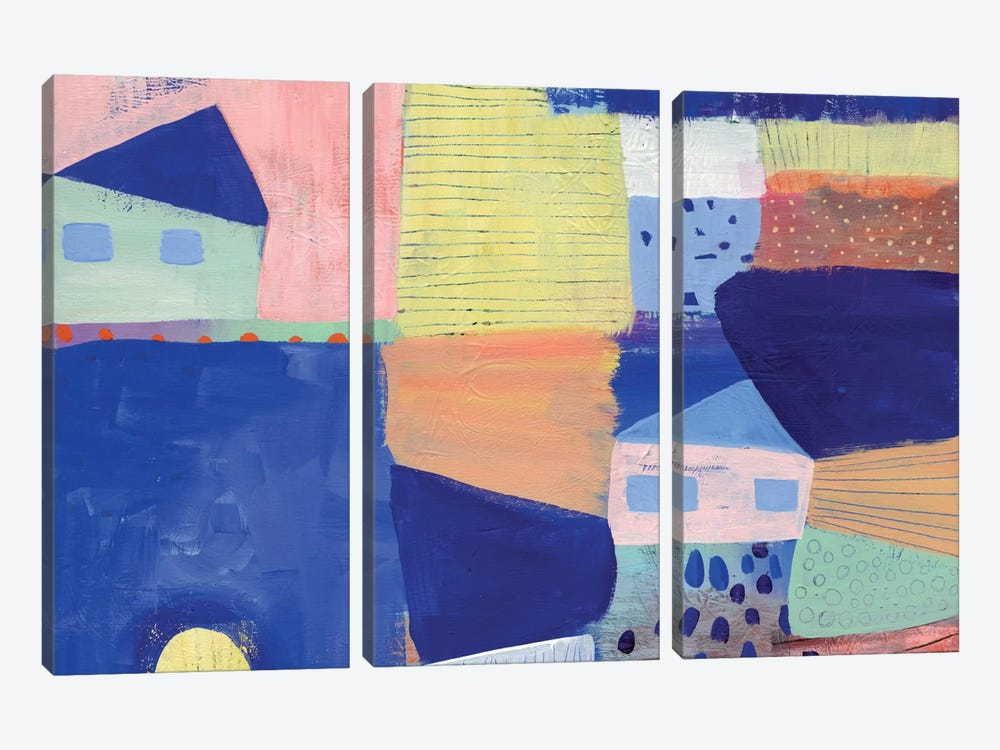 Blue Houses by Sara Franklin 3-piece Art Print