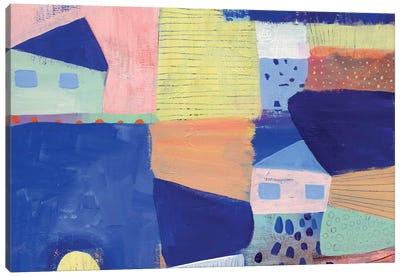 Blue Houses Canvas Art Print