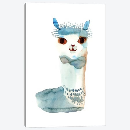 Blue Llama Watercolor Canvas Print #SFR175} by Sara Franklin Canvas Art Print