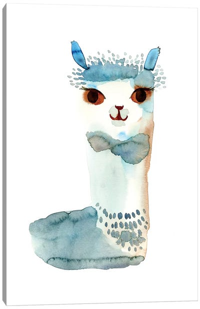 Blue Llama Watercolor Canvas Art Print