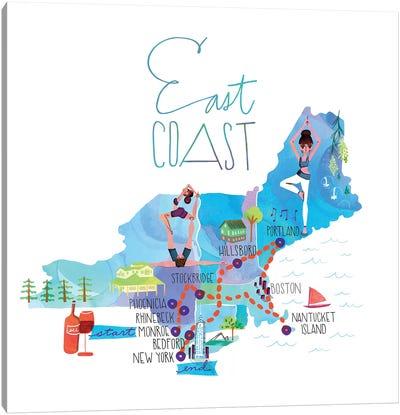 East Coast Trip Map Canvas Art Print