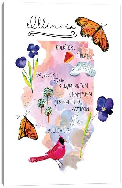 Illinois Map Canvas Art Print