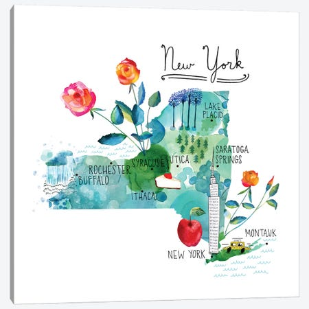 Map Of New York 3-Piece Canvas #SFR186} by Sara Franklin Canvas Art