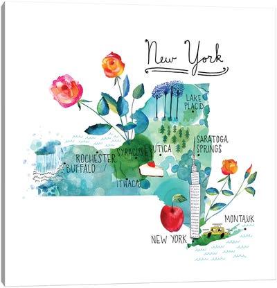 Map Of New York Canvas Art Print