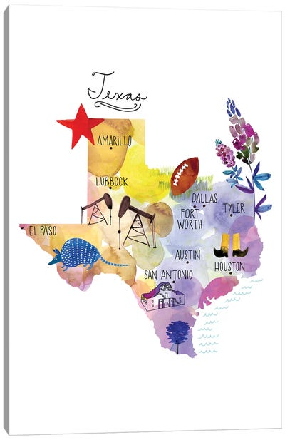 Map Of Texas Canvas Art Print