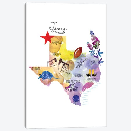 Map Of Texas Canvas Print #SFR187} by Sara Franklin Canvas Artwork