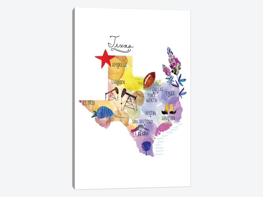 Map Of Texas 1-piece Art Print