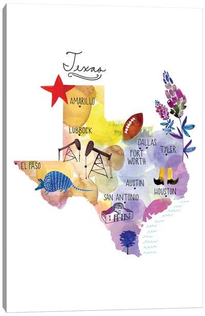 Map Of Texas Canvas Art Print
