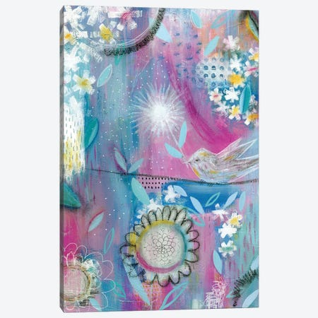 Pink Bird Canvas Print #SFR188} by Sara Franklin Canvas Art Print
