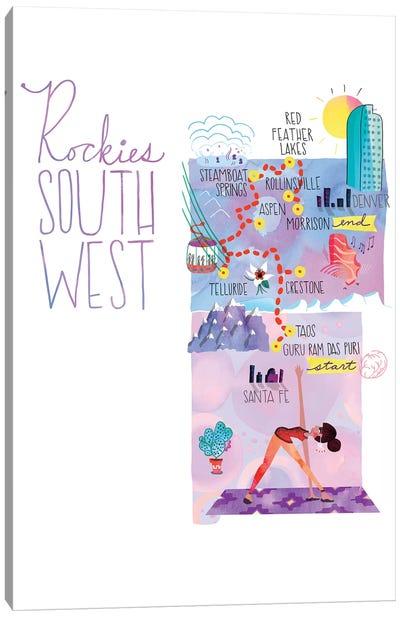 Rockies Trip Map Canvas Art Print