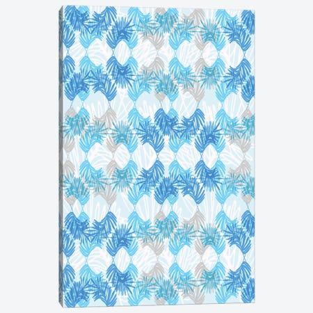 Blue Palms Canvas Print #SFR18} by Sara Franklin Canvas Artwork