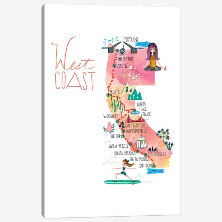 West Coast Trip Map Canvas Print #SFR193} by Sara Franklin Canvas Artwork