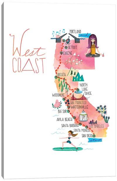 West Coast Trip Map Canvas Art Print