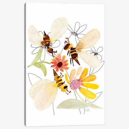Bees Canvas Print #SFR199} by Sara Franklin Canvas Wall Art