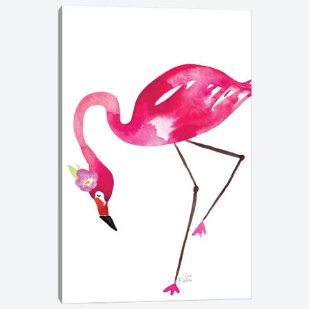 Flamingo Flaunt Canvas Print #SFR207} by Sara Franklin Art Print