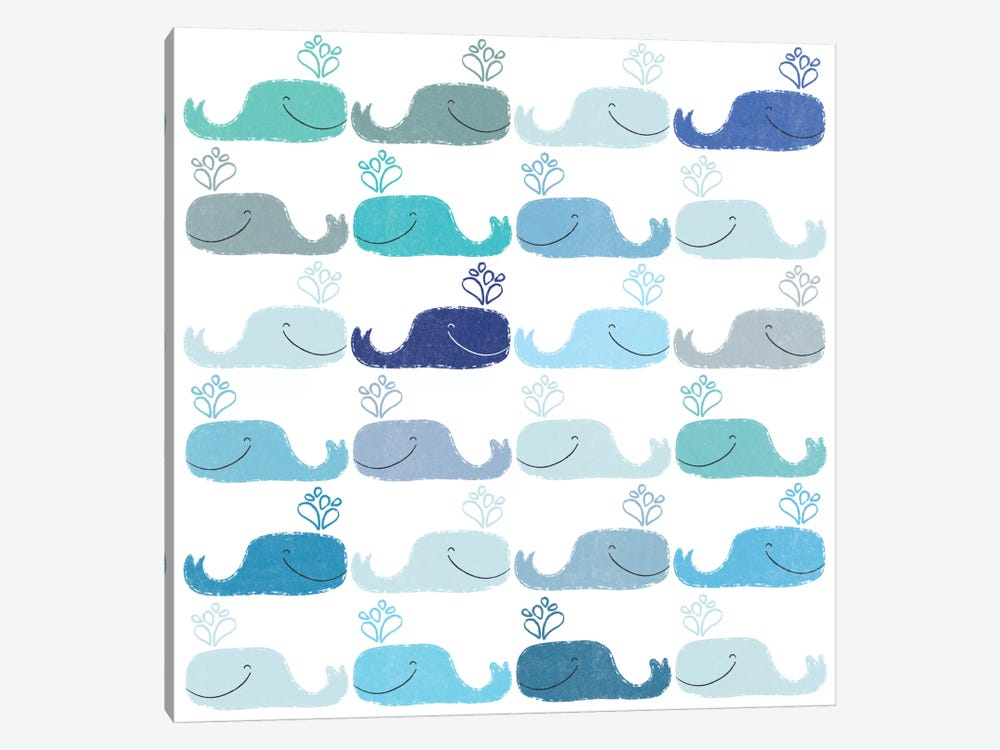 Blue Whales by Sara Franklin 1-piece Canvas Wall Art