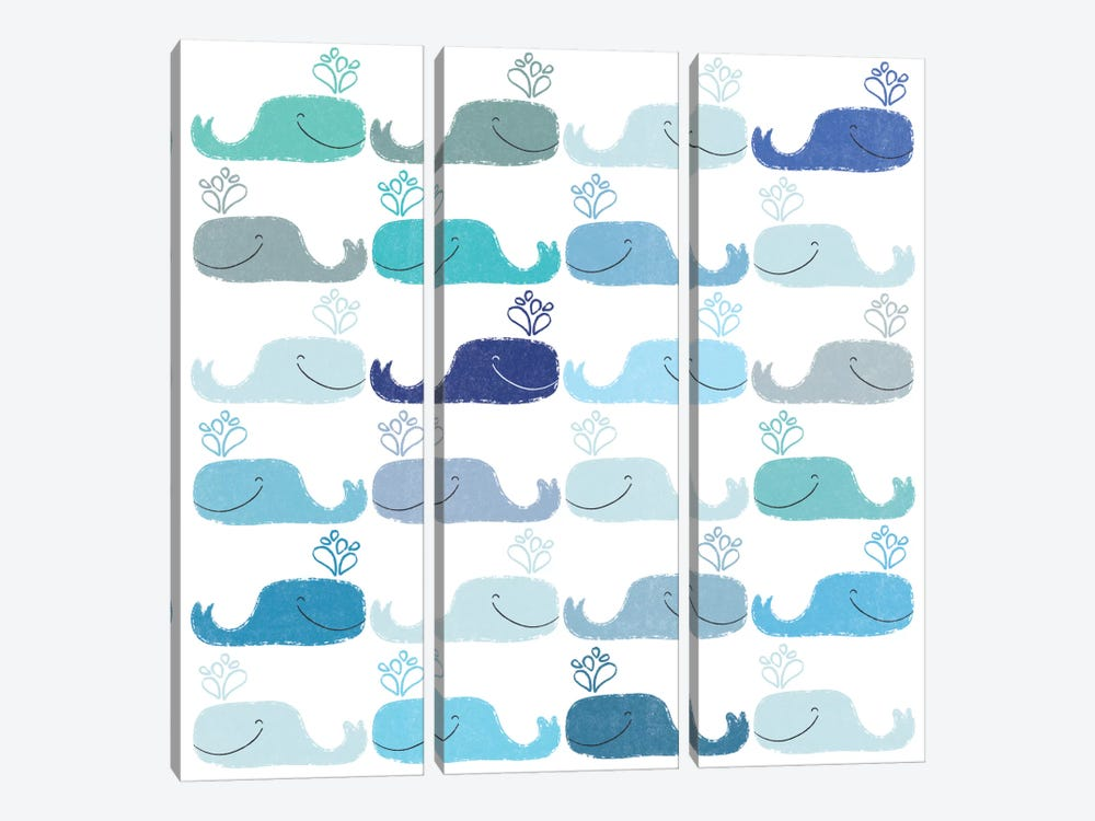 Blue Whales by Sara Franklin 3-piece Canvas Artwork