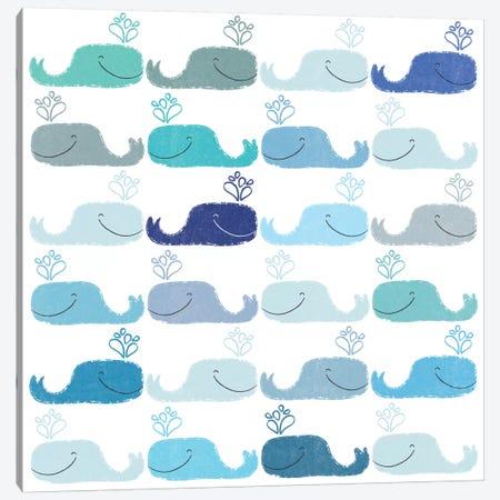 Blue Whales Canvas Print #SFR20} by Sara Franklin Canvas Art Print