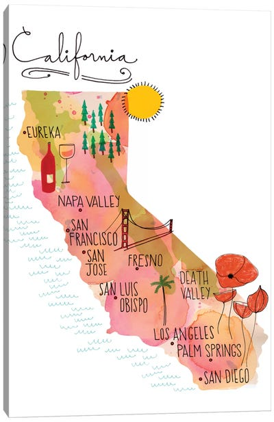 California Map Canvas Print #SFR30
