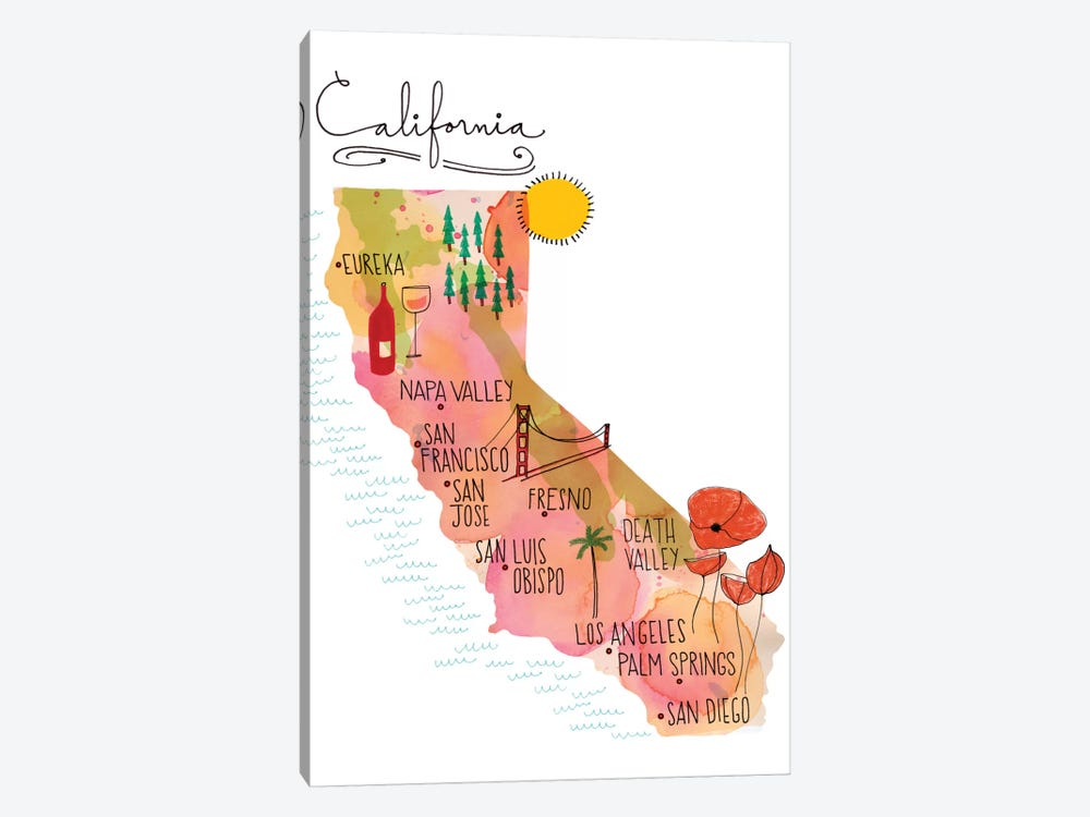 California Map Art Print By Sara Franklin Icanvas