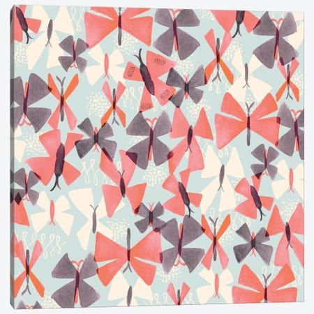Coral Butterflies Canvas Print #SFR40} by Sara Franklin Canvas Print