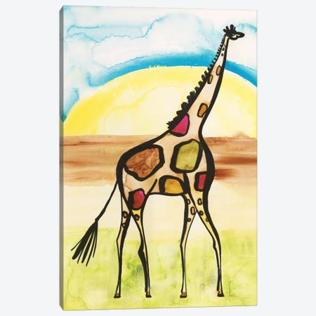 Giraffe Canvas Print #SFR70} by Sara Franklin Canvas Wall Art