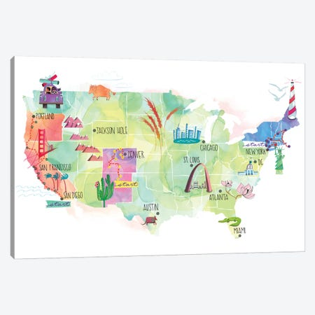 Map Of The US Canvas Print #SFR95} by Sara Franklin Art Print
