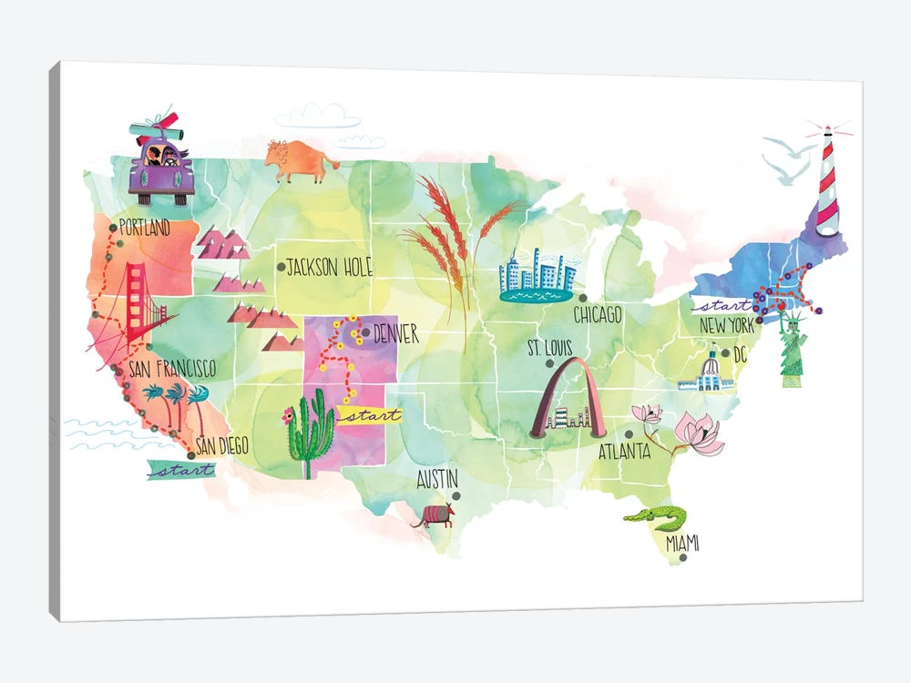 Map Of The US by Sara Franklin 1-piece Canvas Art