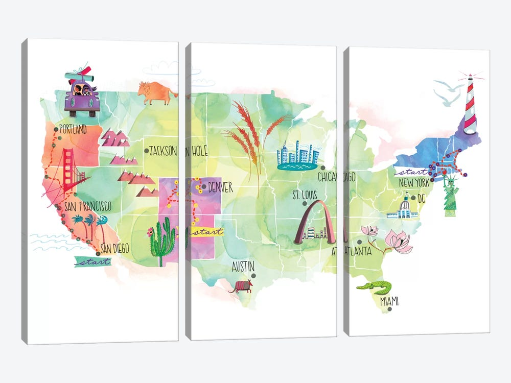 Map Of The US by Sara Franklin 3-piece Canvas Wall Art