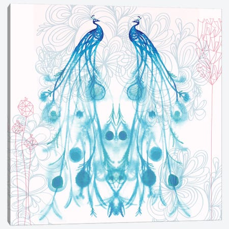 Mirrored Peacocks Canvas Print #SFR98} by Sara Franklin Canvas Artwork