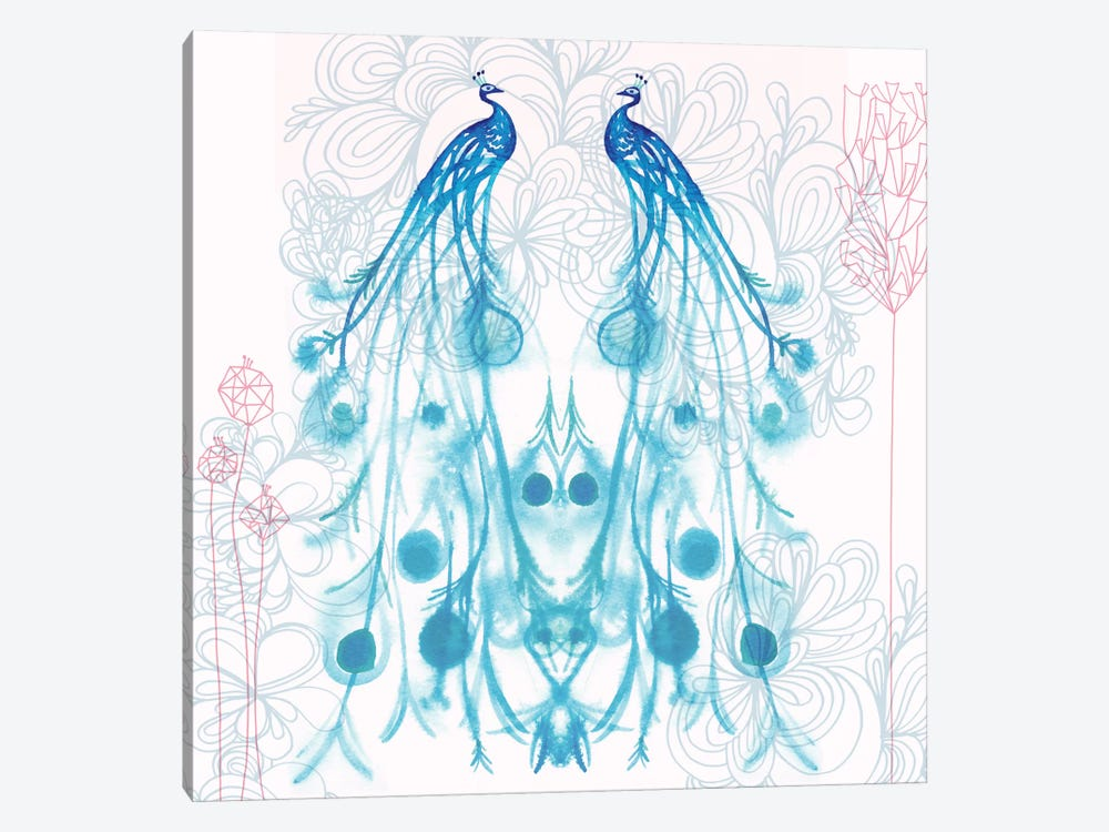 Mirrored Peacocks by Sara Franklin 1-piece Art Print