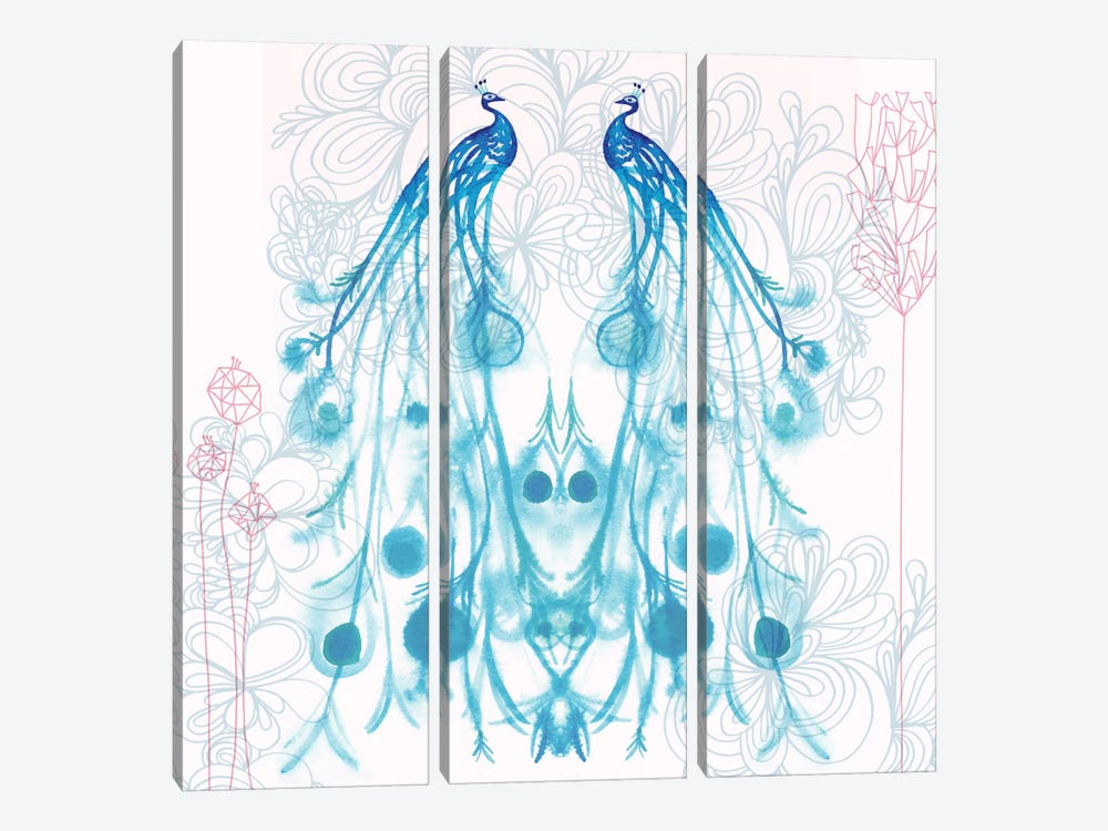 Mirrored Peacocks by Sara Franklin 3-piece Canvas Print