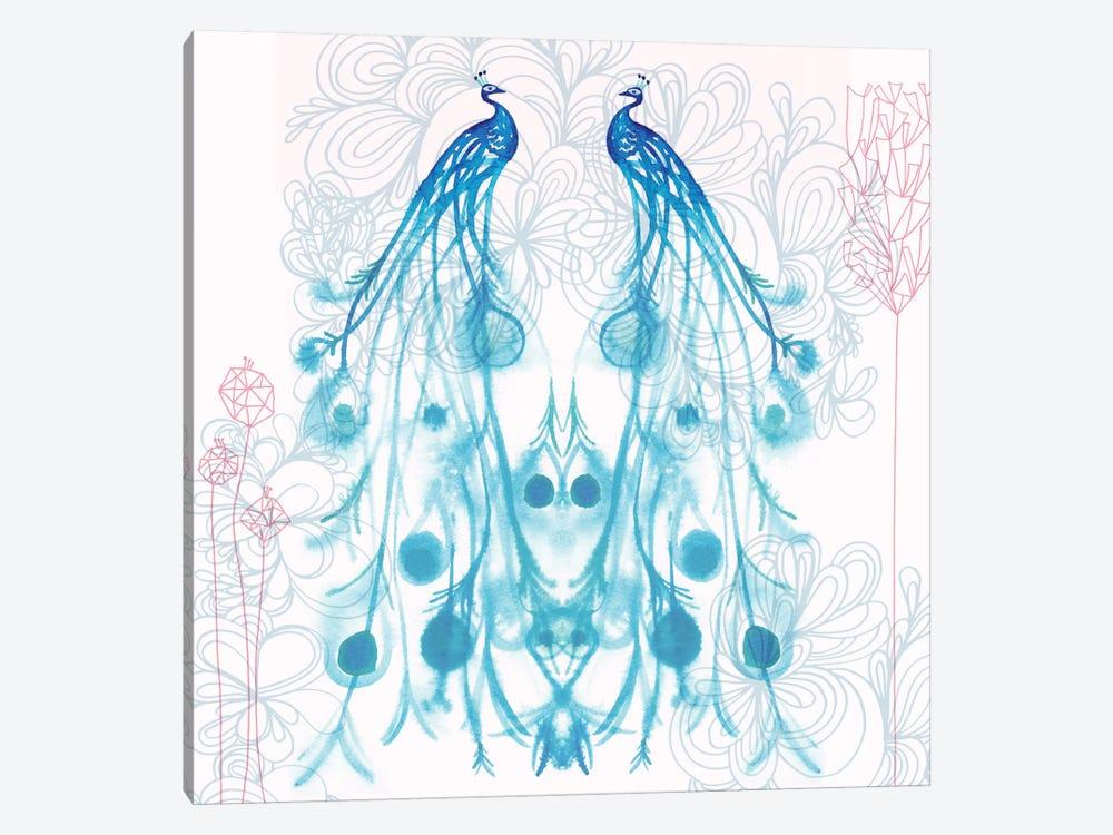 Mirrored Peacocks by Sara Franklin 1-piece Art Print