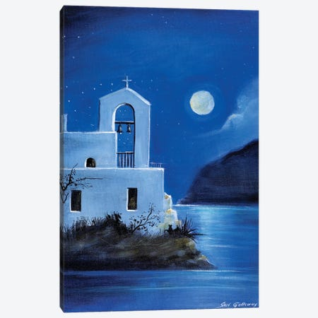 Little Church By The Sea Canvas Print #SGA24} by Susi Galloway Canvas Wall Art