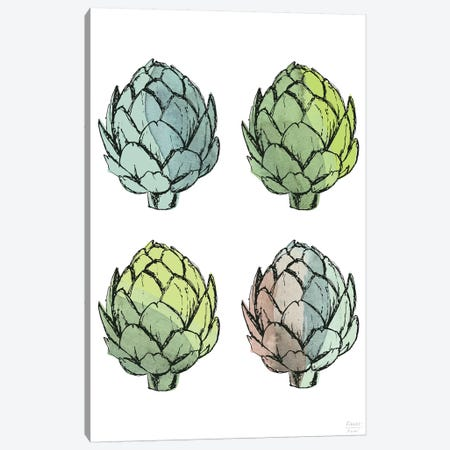 Four Artichokes Canvas Print #SGD100} by Statement Goods Canvas Wall Art