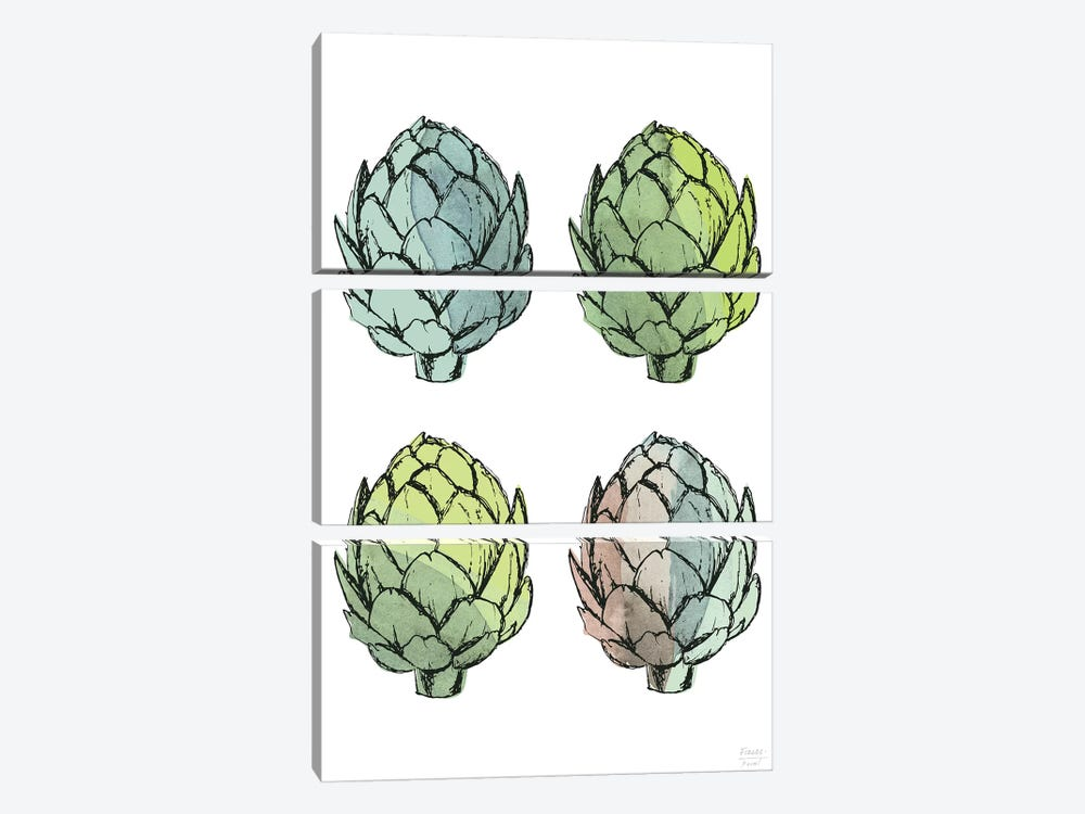 Four Artichokes by Statement Goods 3-piece Canvas Print