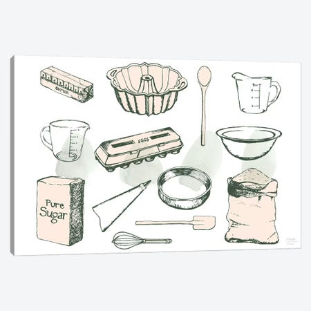 Baking Ingredients Canvas Print #SGD105} by Statement Goods Art Print