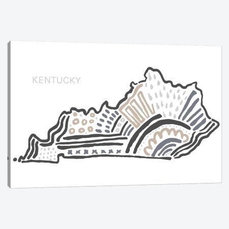 Kentucky In Black And White Canvas Print #SGD31} by Statement Goods Canvas Print