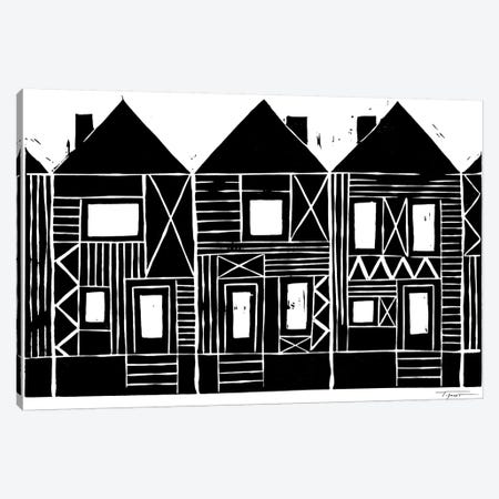 Three Row Houses Canvas Print #SGD71} by Statement Goods Canvas Art Print