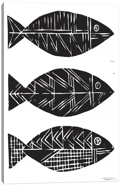 Three Tribal Fish Canvas Art Print