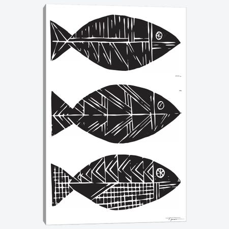 Three Tribal Fish Canvas Print #SGD72} by Statement Goods Canvas Art Print