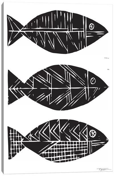 Three Tribal Fish Canvas Art Print